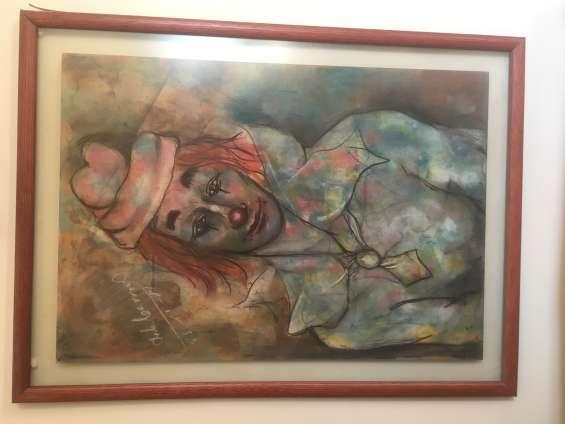 Cuadro payaso mauricio de la carrera pintor chileno